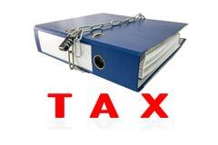 Tax file folders locked with key chain. Stock Photo