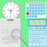 Tax flat design. Accounting money and taxation, calculator and finance. Vector illustration Stock Photography