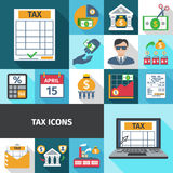 Tax Flat Icon Set Stock Photography