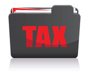Tax Folder. A black and red tax folder Stock Photography