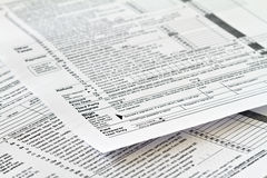 Tax form. IRS tax form with focus on sign here Stock Photography