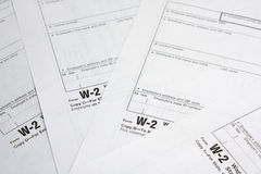 Tax form. Heap of W-2 tax forms. Business documents Royalty Free Stock Photography