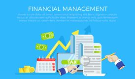 The tax form banner. Investigation of accounts. Date of payment of debt. Vector flat banner Royalty Free Stock Images