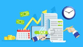 The tax form banner. Investigation of accounts. Date of payment of debt. Vector flat banner Stock Photography