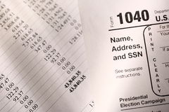 Tax form and budget Royalty Free Stock Photo