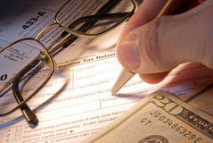 Tax form business financial concept. Individual return tax form with money Stock Photos