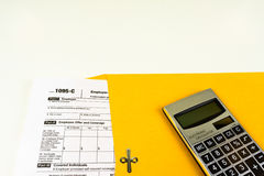 Tax Form 1095-C, Tax Form Details with Light Background Royalty Free Stock Images