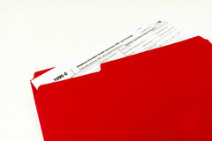 Tax Form 1095-C, Tax Form Details with Light Background Royalty Free Stock Photos