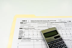 Tax Form 1095-C, Tax Form Details with Light Background Stock Photos