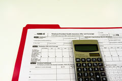 Tax Form 1095-C, Tax Form Details with Light Background Stock Photography