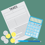 Tax form. Counting taxes Stock Photo