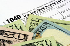 Tax Form and Currency Royalty Free Stock Photo
