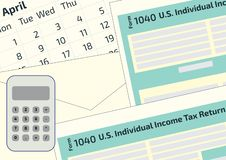 2019, 2018 Tax Form 1040 and the envelope, a calendar and calculator. Tax Day on April 17. The calendar and the 1040 income tax fo. Rm showing tax day for filing stock illustration