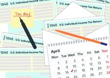 2019, 2020 Tax Form 1040 in the envelope, a pen and a calendar. Tax Day on April 17. The calendar and the 1040 income tax form sho. Wing tax day for filing royalty free illustration