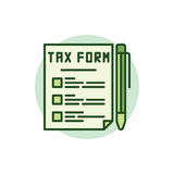 Tax form green icon. Vector colorful tax document with a pen sign Royalty Free Stock Photos