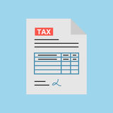 Tax form icon in the flat style, isolated from the blue background. Filling tax form. Payment of taxes concept. Modern concept for web banners, web sites Stock Photo