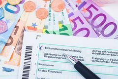 Tax form. For income tax in germany Stock Photos