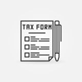 Tax form line icon. Vector outline tax document with a pen concept symbol or logo element in thin line style Stock Image