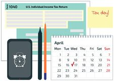 2019, 2018 Tax Form 1040, mobile phone, a pen and a calendar. Tax Day on April 17. The calendar and the 1040 income tax form showi. Ng tax day for filing. Vector vector illustration
