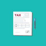 Tax form and pen. Top view. Modern flat design graphic elements. Vector illustration. Tax form and pen. Top view. Modern flat design graphic elements. Document Stock Photos
