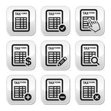 Tax form, taxation, finance  buttons set. Grey square buttons set isolated on white - filling tax forms Stock Photo
