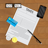 Tax form vector. Audit and taxation government, illustration of accounting work Royalty Free Stock Image