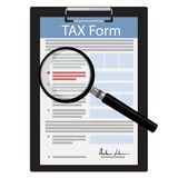 Tax form. Vector illustration black clipboard with tax form and magnifying glass icon isolated on white background. Federal income tax form. Tax return Stock Image