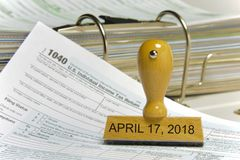 Us individual tax form 1040 for year 2018 Stock Photos