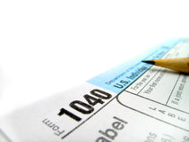 Tax Forms 1040. Detail closeup of current tax forms for IRS filing royalty free stock photos
