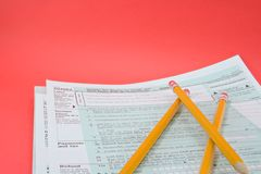 Tax forms 1040EZ stock photo