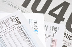 Tax forms. Closeup view of the us tax forms Royalty Free Stock Photography
