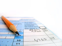 Tax Forms. Detail closeup of current tax forms and pencil Royalty Free Stock Photos