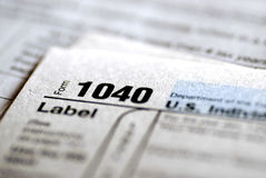 Tax Forms 2009. Detail closeup of current tax forms for IRS filing royalty free stock images