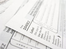 Tax forms. Close up of multiple 1040EZ tax forms stock images