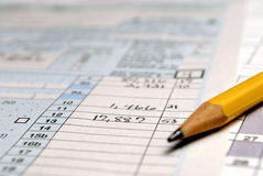 Tax Forms. Detail closeup of current tax forms and pencil Stock Photo