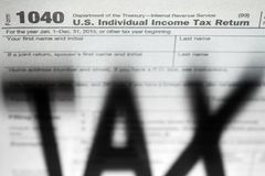 Tax forms background with Tax. Shadow Royalty Free Stock Photography
