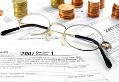 Tax Forms Coins and Glasses Stock Photography