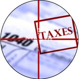 Tax Forms with Crosshairs Destroy Taxes Royalty Free Stock Photo