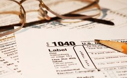 Tax Forms With Glasses Royalty Free Stock Photos