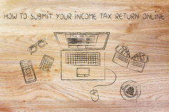 Tax forms on laptop screen with office objects, how to submit Stock Photos