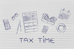 Tax forms with office desk objects & phone alert, caption Tax Ti Stock Images