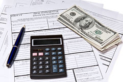Tax Forms with Pen Royalty Free Stock Photo