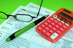 Tax Forms Pen Calculator Stock Images