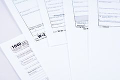 Tax reporting and tax forms stock images