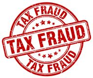 Tax fraud red stamp. Tax fraud red grunge round stamp isolated on white background stock illustration
