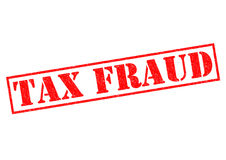 TAX FRAUD. Red Rubber Stamp over a white background Stock Photos