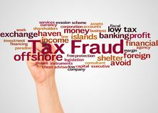 Tax fraud word cloud and hand with marker concept. On white background royalty free stock image