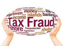 Tax fraud word cloud hand sphere concept. On white background royalty free stock images