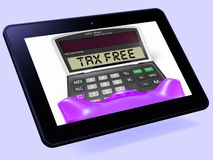 Tax Free Calculator Tablet Shows Untaxed Duty Free Merchandise Stock Image