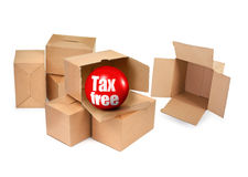 Tax free concept. Cardboard boxes and 3D sale ball, photo does not infringe any copyright royalty free stock photography